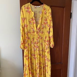 Zara peasant tiered yellow floral dress